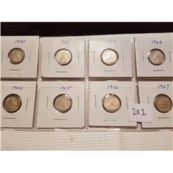 1960 to 1967 10 cent coins set
