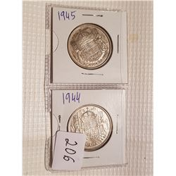 1944 and 1945 50 cent coins