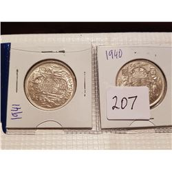 1940 and 1941 509 cent coins