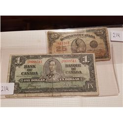 1923 25 cent and 1937 one dollar notes