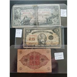 1920 German Note,1923 Can 25cent,1935 10 dollar Commerce Note