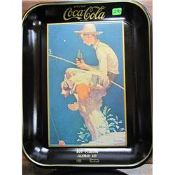Boy Fishing Calendar Art Norman Rockwell 1935 Coca Cola tray