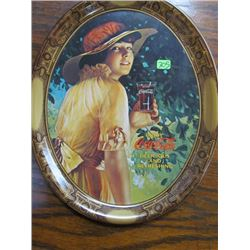 Smaller Reproduction of World War I Girl Advertisment 1976 Coca Cola Tray