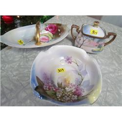 Nippon Sugar + Lid and 2 Noritake Dishes