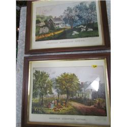 Spring and Autumn Currier + Ives American Homestead Series (2 framed Prints)
