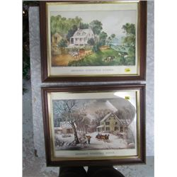 Summer and Winter Currier + Ives American Homestead Series (2 framed prints )