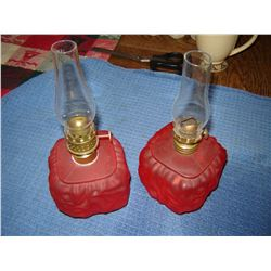Pair of satin miniature oil lamps late 1800s