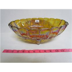 Carnival glass oval amber footed fruit dish approx. 15x 9
