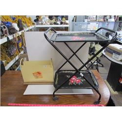 Black floral tea tray dbl trays on wheels + floral magazine stand