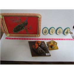 Peacock pattern Tray with dutch wooden shoes /chalkware oval ornaments