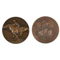 Two Bronze Pony Express Plaques