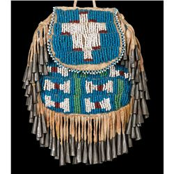 Apache Beaded and Fringed Pouch