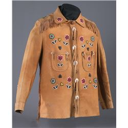 A Gentleman's Beaded Hide Jacket with Cody History