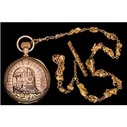 """""""Nome"""" Gold Nugget Chain with 14K Gold Watch"""
