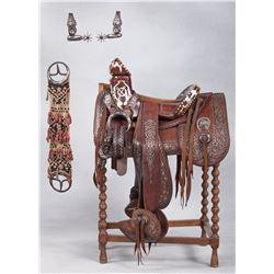 Fancy Pearl Inlaid Mexican Saddle with Spurs from the Chladiuk Museum Collection