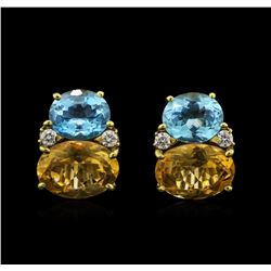 28.54 ctw Multi Gemstone and Diamond Non-Pierced Earrings - 18KT Yellow Gold