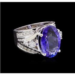 8.85 ctw Tanzanite and Diamond Ring - 14KT White Gold