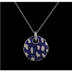 1.68 ctw Blue Sapphire and Diamond Pendant With Chain - 14KT White Gold