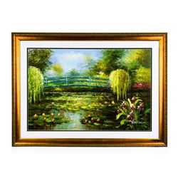 Bridge With Water Lilies Original Oil on Canvas Painting
