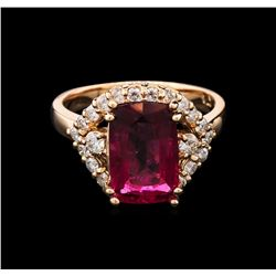 3.35 ctw Pink Tourmaline and Diamond Ring - 14KT Rose Gold