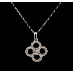 14KT White Gold 0.20 ctw Diamond Pendant With Chain