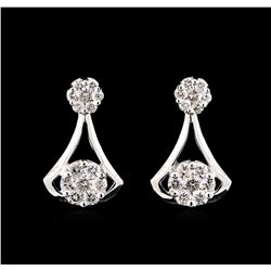 1.20 ctw Diamond Earrings - 14KT White Gold