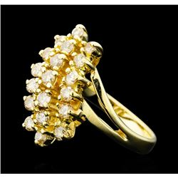 1.00 ctw Diamond 3-Row Ring - 14KT Yellow Gold