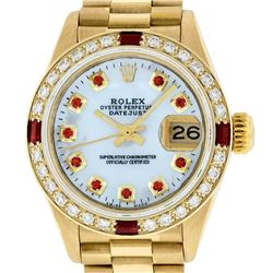 Rolex Ladies Quickset 18K Yellow Gold MOP Ruby And Diamond President Wristwatch