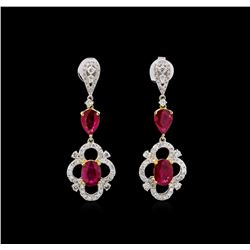 3.56 ctw Ruby and Diamond Earrings - 18KT Two-Tone Gold