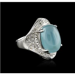14KT White Gold 9.31 ctw Aquamarine and Diamond Ring