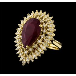 7.73 ctw Ruby and Diamond Ring - 14KT Yellow Gold