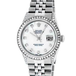 Rolex Mens Stainless Steel MOP Diamond Lugs Datejust Wristwatch