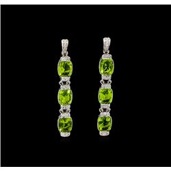 Crayola 15.60 ctw Peridot and White Sapphire Earrings - .925 Silver