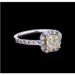 1.54 ctw Fancy Light Yellow Diamond Ring - 14KT Two-Tone Gold