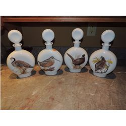 Set of 4 wild game bird decanters white with stoppers $25 to $100