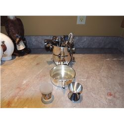 Bar Mixer Set Metal, Bard Dish, 2 Shot Glasses $20 to $40