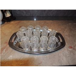 Silver Platter with 12 brandy glasses $25 to $50