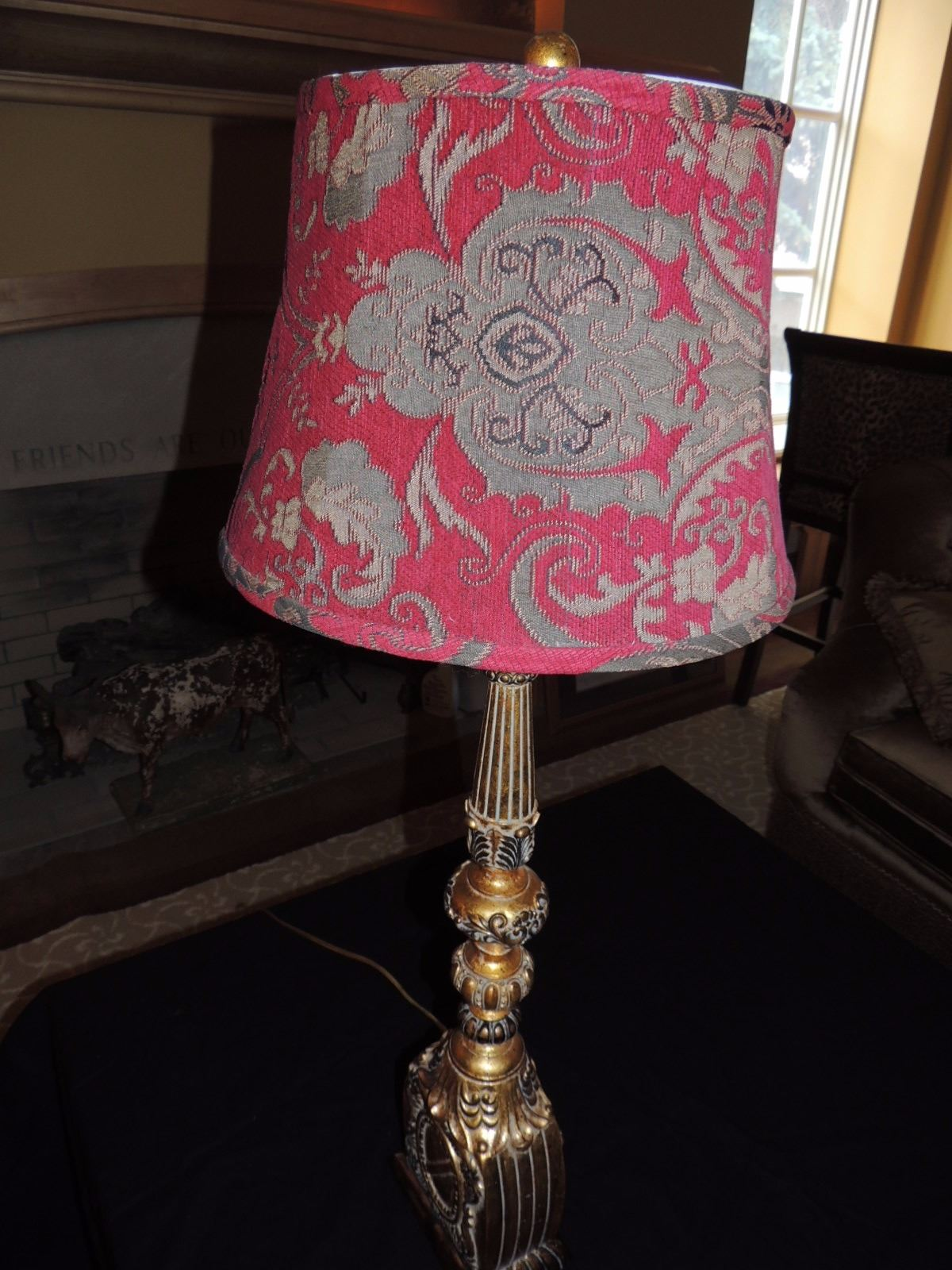 Large Tan Gold Table Lamp With Red Shade 75 To 150