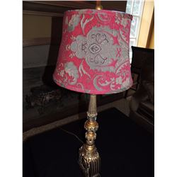 Large Tan & Gold Table Lamp with Red Shade $75 to $150