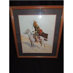 Wooden Framed print of Indian Warrior on Horseback by Frederic Remington $200 to $400