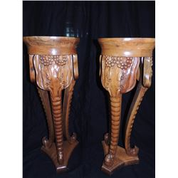 2 Wooden Elephant Faced Legs Table with Stone Top $250 to $500