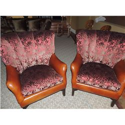 2 Hancock & Moore Plush Leather & Fabric Chairs $350 to $700