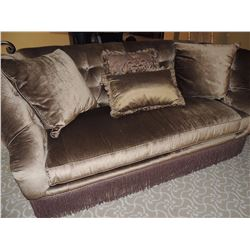 Tufted Back Sofa with braided skirt and throw pillows $250 to $500