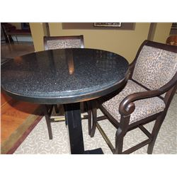 Round High Top Black Table w/ gold flecks with 2 Animal Print Chairs $250 to $500