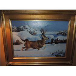 """Buck Oil Painting signed by Harold Stack 14""""h x 20""""w """"Mid December Muley"""" $700 to $1400"""