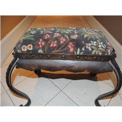 Small Upholstered and Metal Footstool $50 to $150