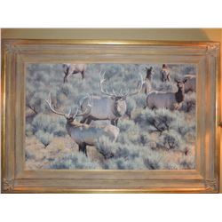 """Oil Painting by Kyle Sims, """"Mammoth Showdown"""" 25""""H x 40""""W - Signed (Appraisal $8800.00)"""
