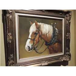 Horse with harness painting - Signed $225 to $450