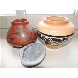 2 Mexican Ceramic Pots with sea shell $125 to $250