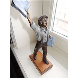 """Bronze Paper Boy Statue, """"Extra! Extra!"""" by Becky Eiker 11""""H x 6""""W x 4""""L - with plaque signature $45"""